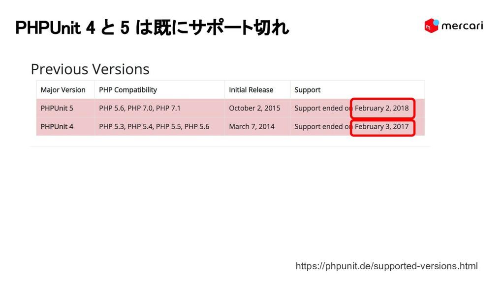 PHPUnit 4 と 5 は既にサポート切れ https://phpunit.de/supp...