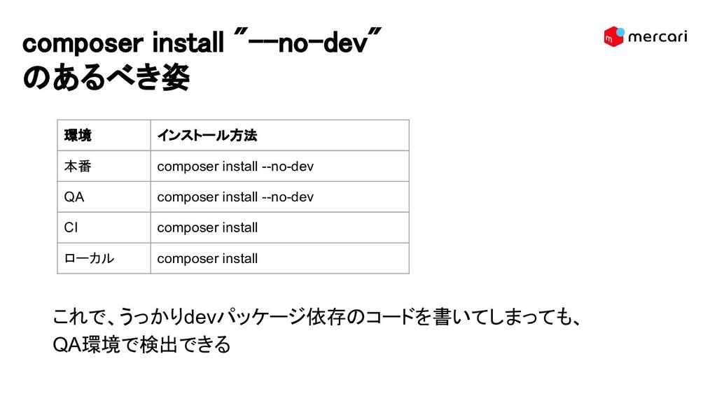 "composer install ""--no-dev"" のあるべき姿 これで、うっかりdevパ..."