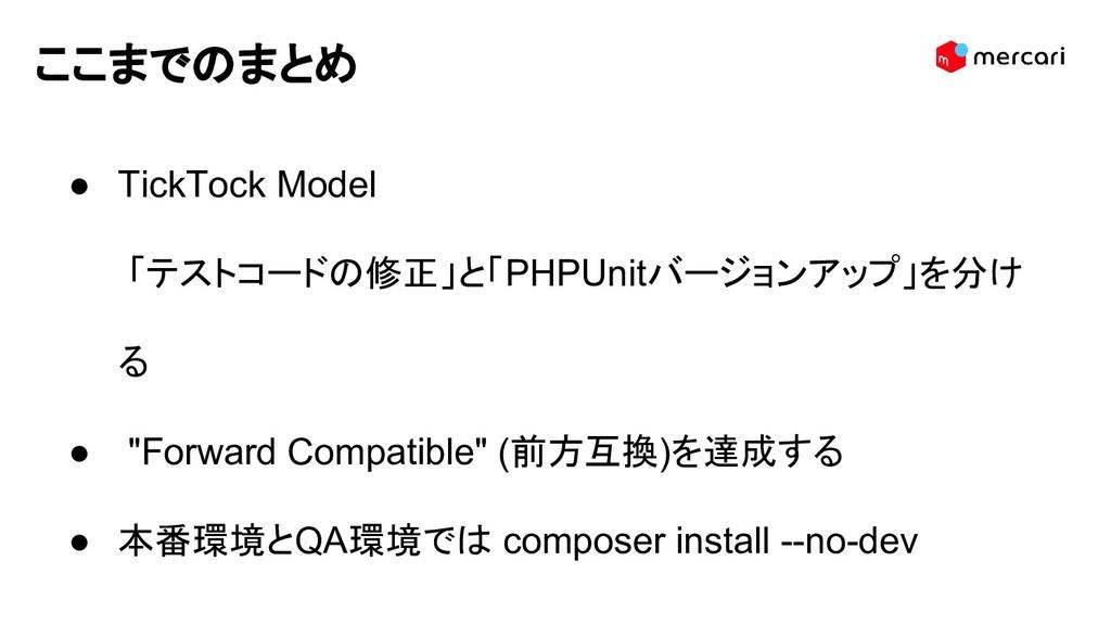 ここまでのまとめ ● TickTock Model 「テストコードの修正」と「PHPUnitバ...