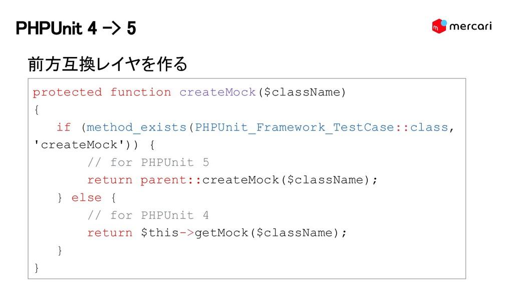 PHPUnit 4 -> 5 前方互換レイヤを作る protected function cr...