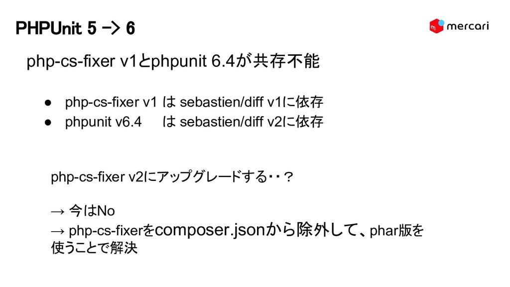 PHPUnit 5 -> 6 php-cs-fixer v1とphpunit 6.4が共存不能...