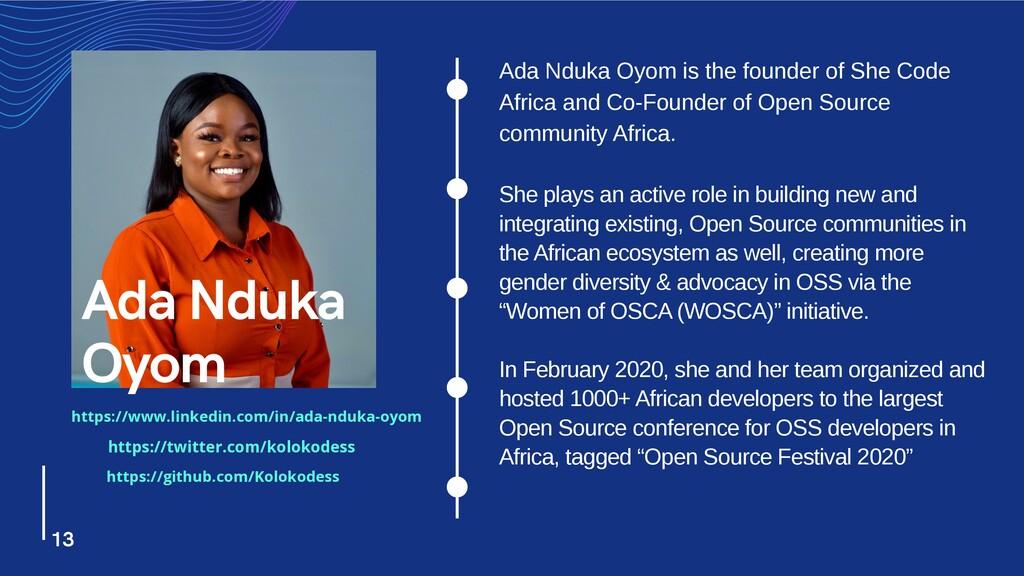 Ada Nduka Oyom is the founder of She Code Afric...