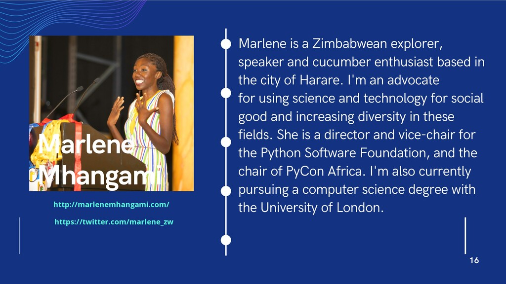 Marlene is a Zimbabwean explorer, speaker and c...