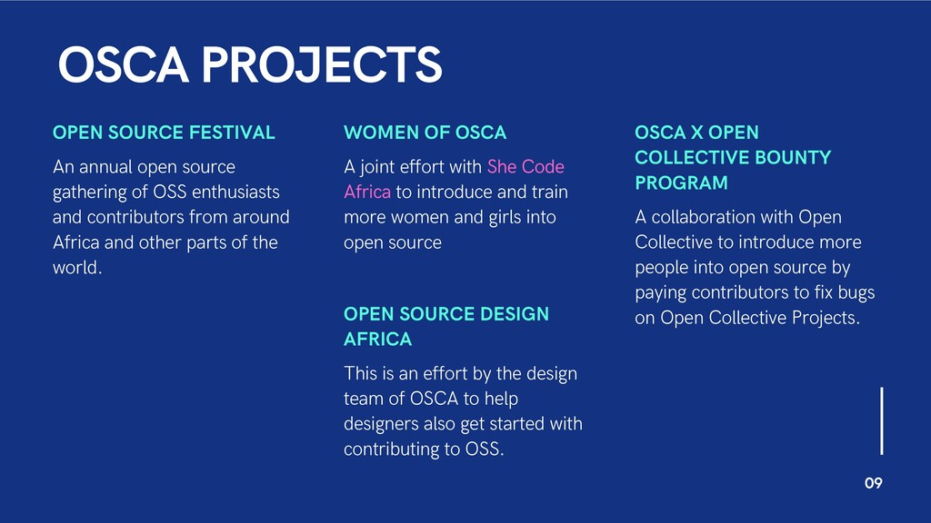 OSCA PROJECTS OPEN SOURCE FESTIVAL An annual op...