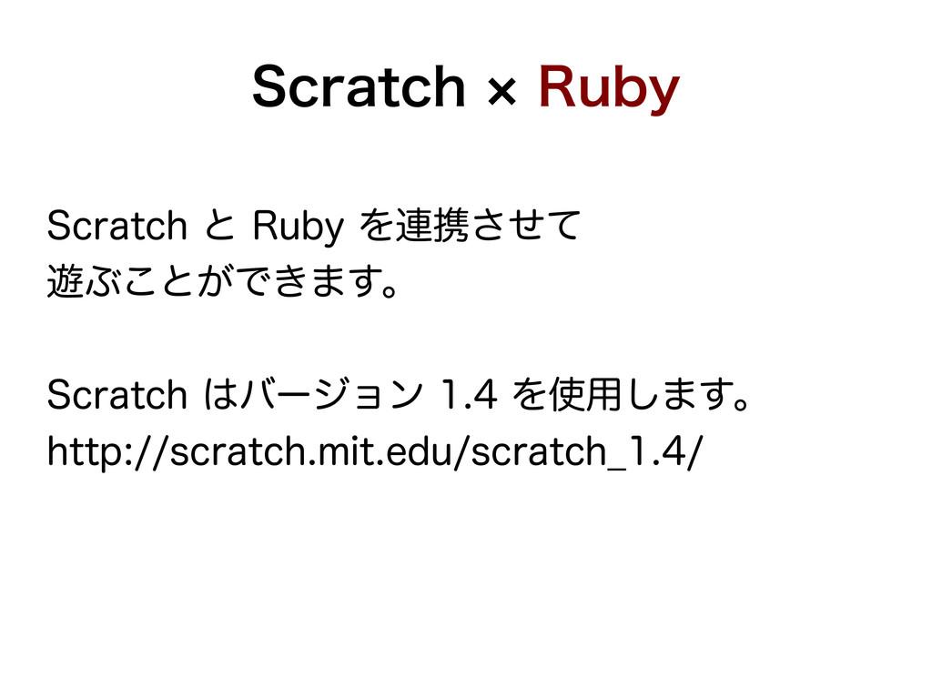 Scratch × Ruby Scratch と Ruby を連携させて 遊ぶことができます。...