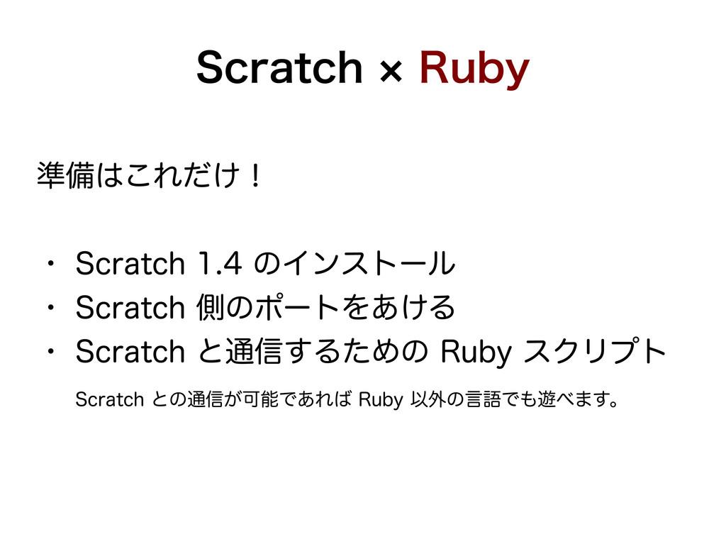 Scratch × Ruby 準備はこれだけ! ・ Scratch 1.4 のインストール ・...