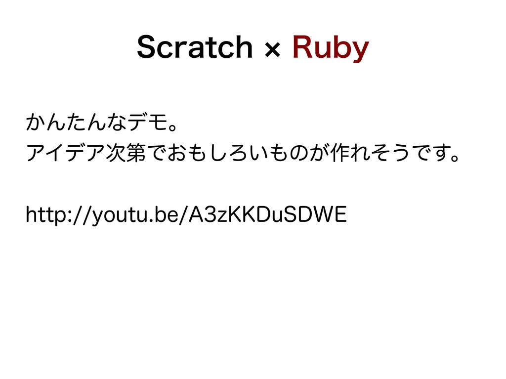 Scratch × Ruby かんたんなデモ。 アイデア次第でおもしろいものが作れそうです。 ...