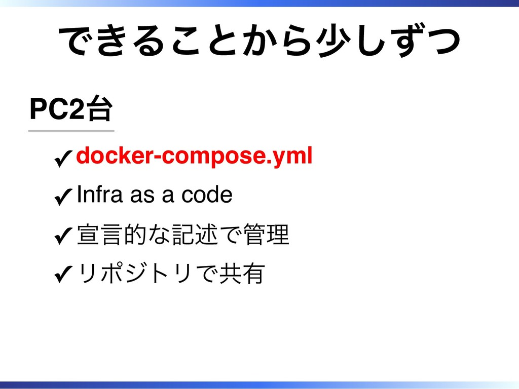 できることから少しずつ PC2台 docker-compose.yml ✓ Infra as ...