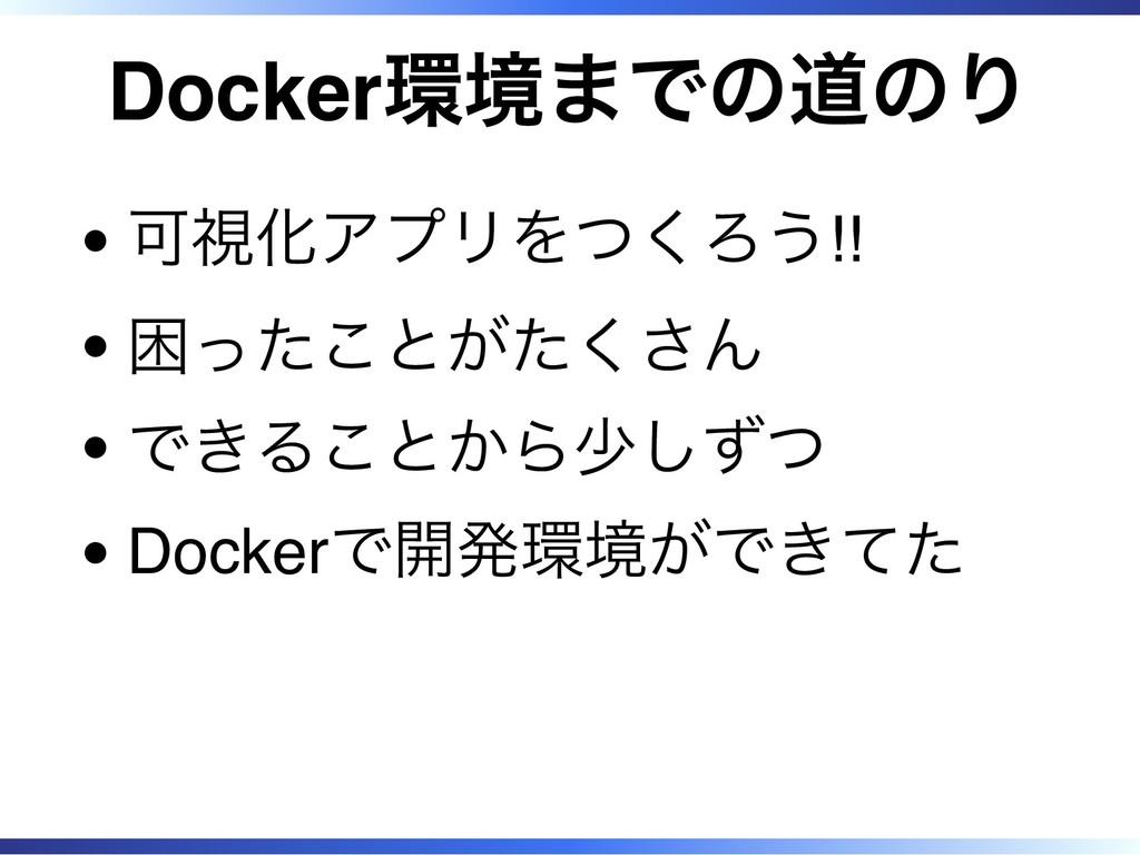 Docker環境までの道のり 可視化アプリをつくろう!! 困ったことがたくさん できることから...