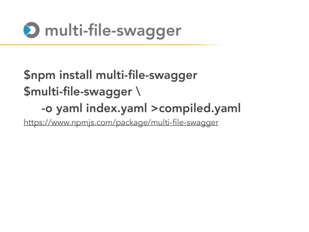 $npm install multi-file-swagger $multi-file-swagg...