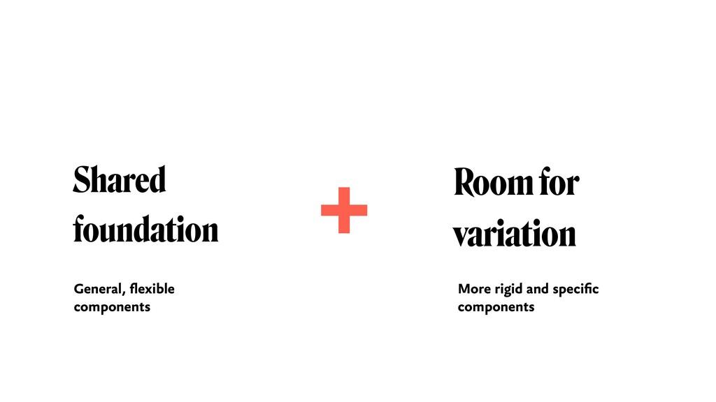 Shared foundation Room for  variation + Genera...