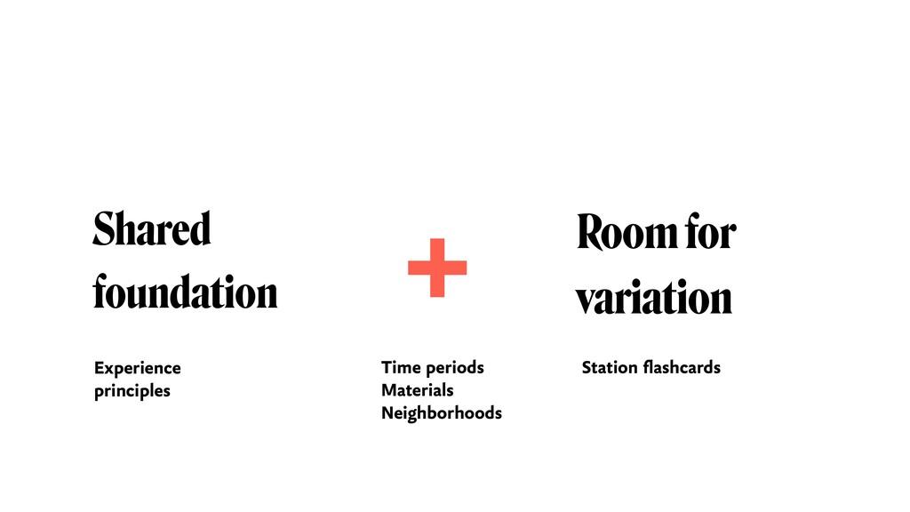 Shared foundation Room for  variation + Experi...