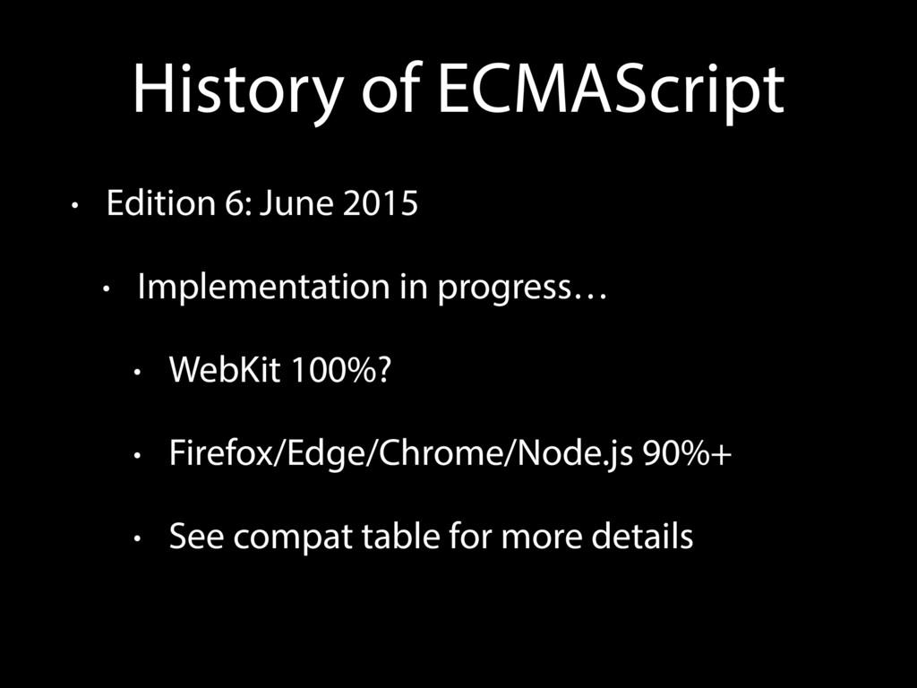 History of ECMAScript • Edition 6: June 2015 • ...