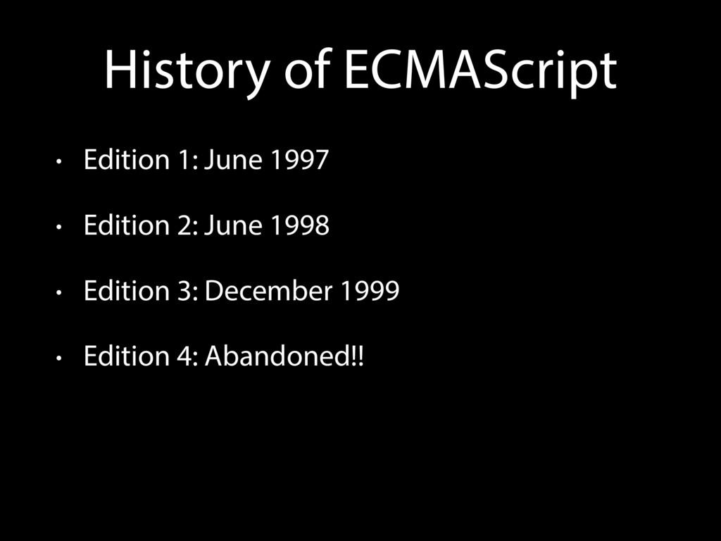 History of ECMAScript • Edition 1: June 1997 • ...