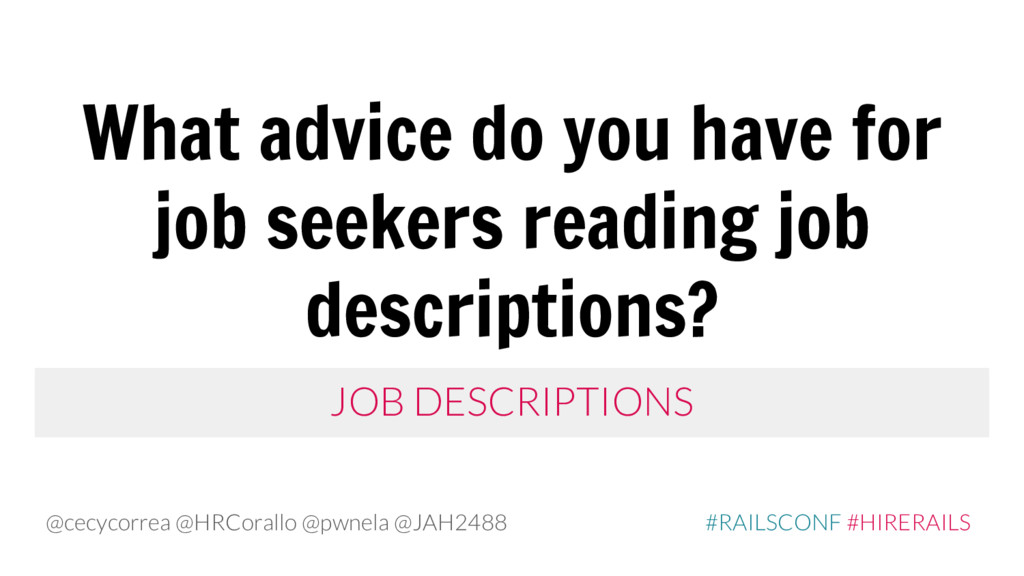 What advice do you have for job seekers reading...