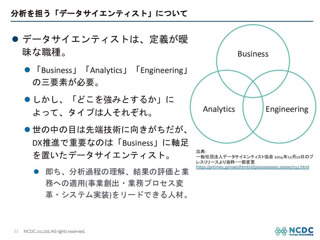 分析を担う「データサイエンティスト」について l データサイエンティストは、定義が曖 昧な職種...