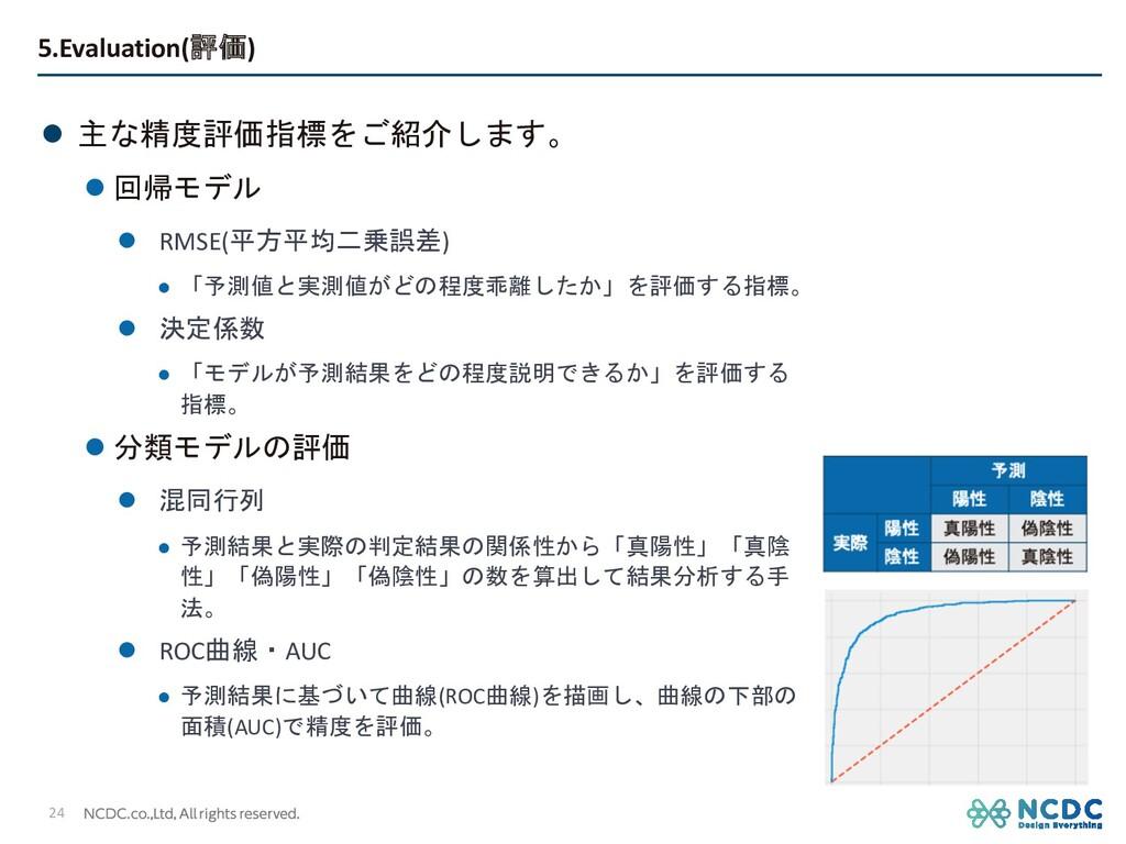 5.Evaluation(評価) l 主な精度評価指標をご紹介します。 l 回帰モデル l R...