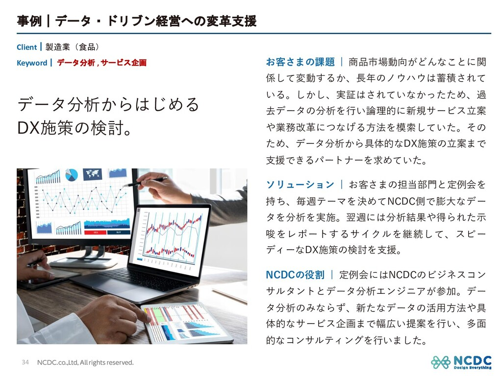 事例 データ・ドリブン経営への変革支援 34 Client 製造業(食品) Keyword  ...