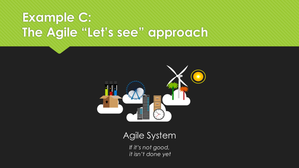 "Example C: The Agile ""Let's see"" approach Agile..."