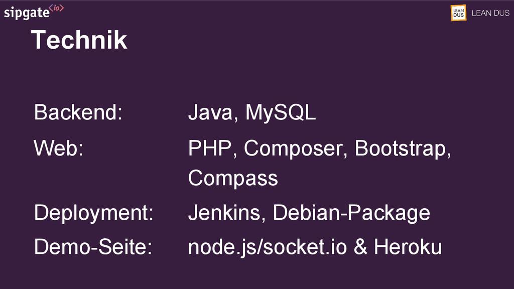 Technik Backend: Java, MySQL Web: PHP, Composer...