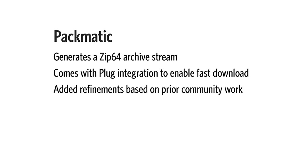 Packmatic Generates a Zip64 archive stream Come...