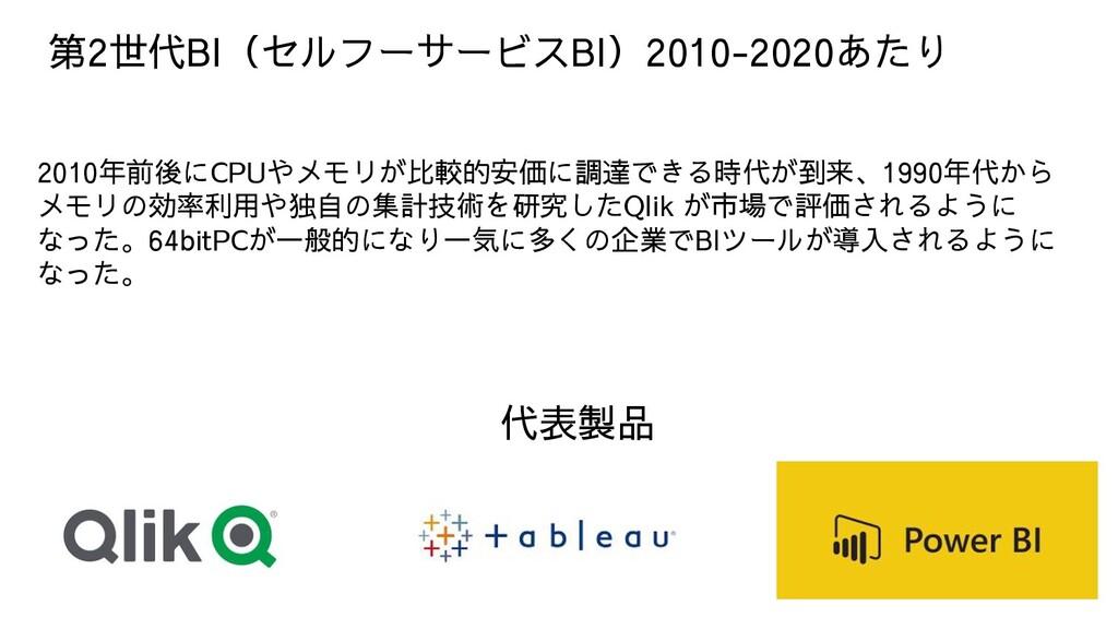 第2世代BI(セルフーサービスBI)2010-2020あたり 2010年前後にCPUやメモリが...