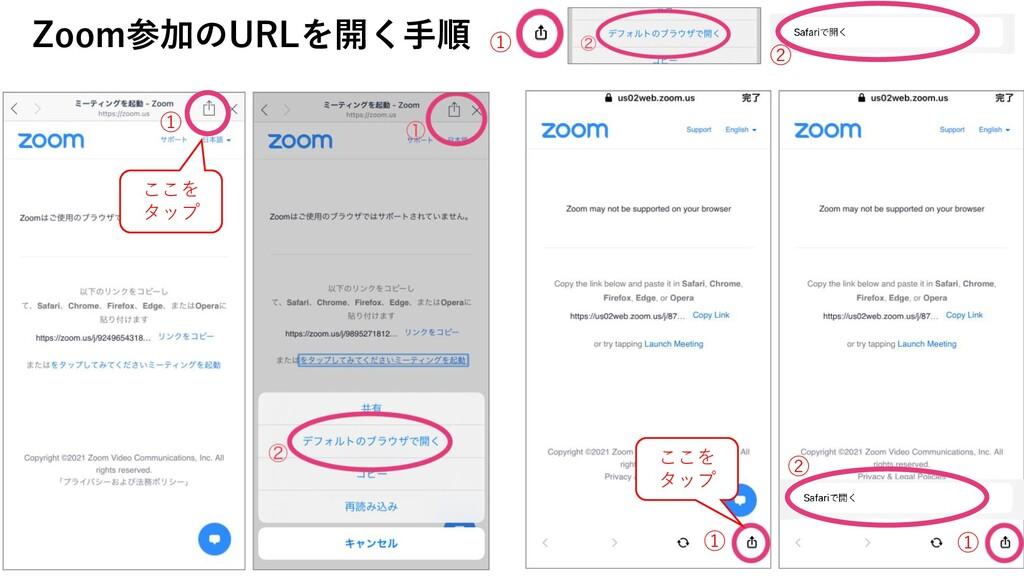 ① ① ① ② Zoom参加のURLを開く手順 ① ② ここを タップ ここを タップ