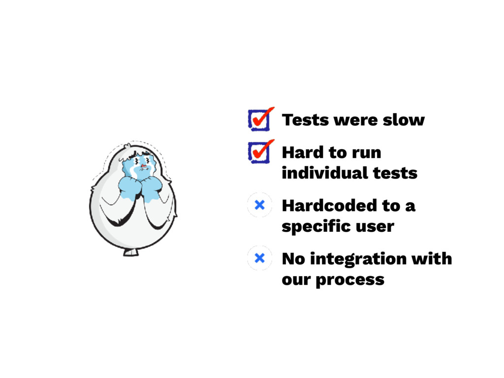 Tests were slow Hard to run individual tests Ha...