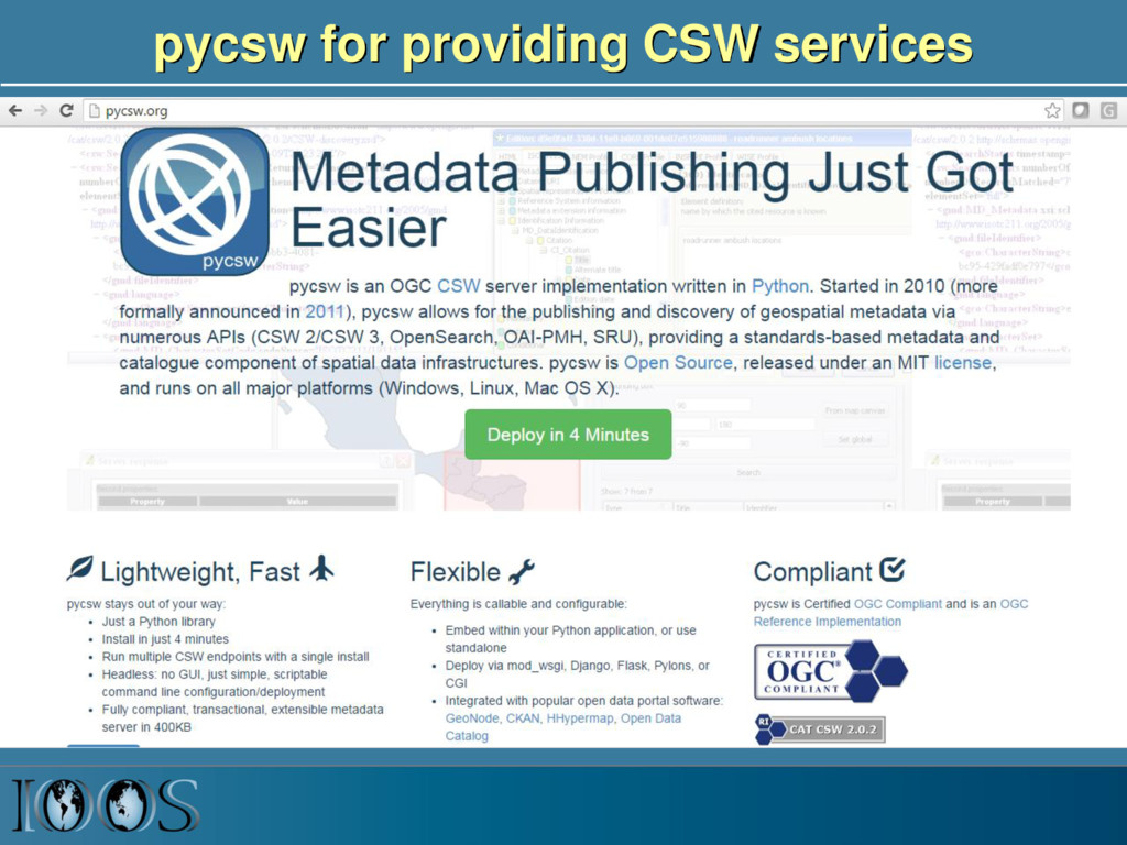 pycsw for providing CSW services