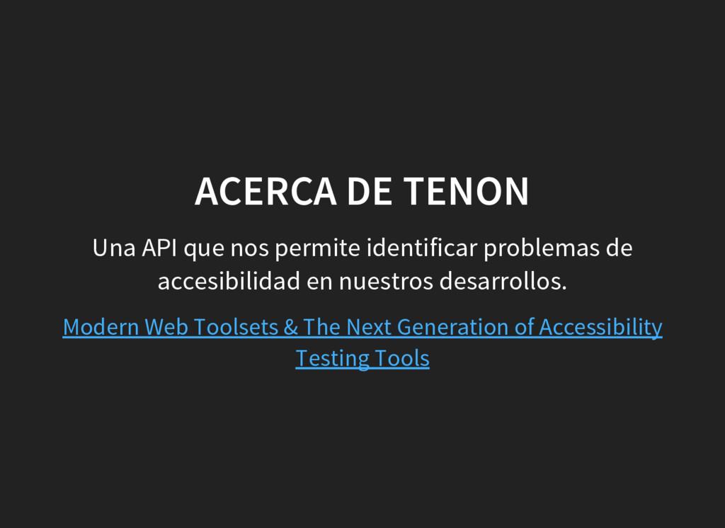 ACERCA DE TENON Una API que nos permite identif...