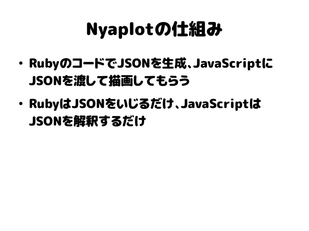 Nyaplotの仕組み ● RubyのコードでJSONを生成、JavaScriptに JSON...