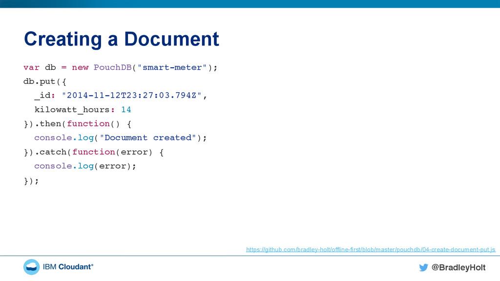 @BradleyHolt! Creating a Document var db = new ...