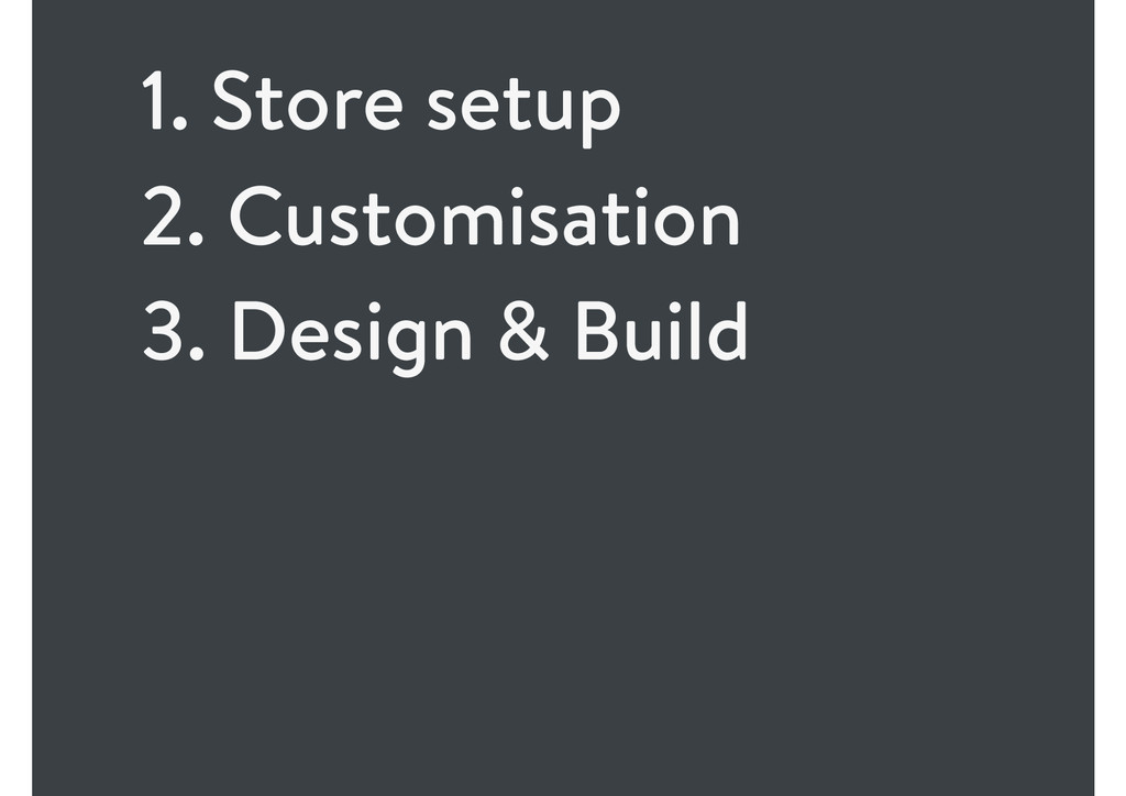 1. Store setup 2. Customisation 3. Design & Bui...