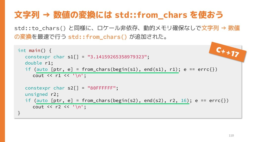 std::to_chars() と同様に、ロケール非依存、動的メモリ確保なしで文字列 → 数値...