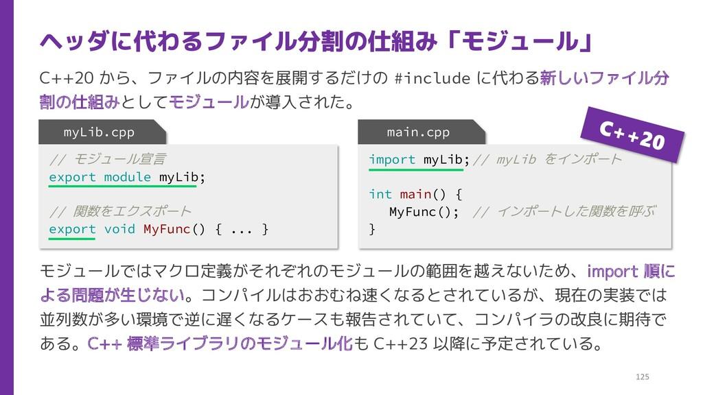 C++20 から、ファイルの内容を展開するだけの #include に代わる新しいファイル分 ...