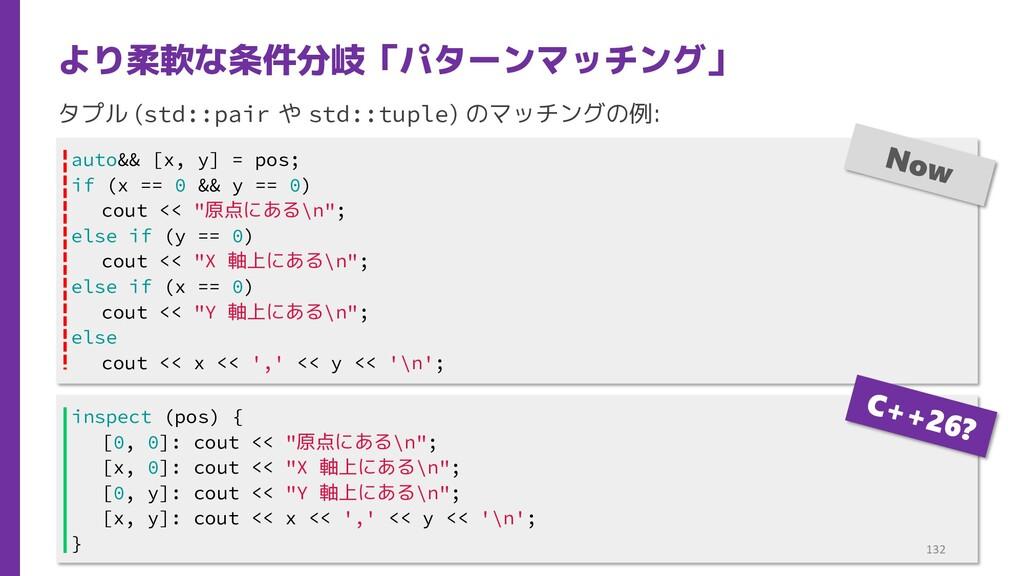 タプル (std::pair や std::tuple) のマッチングの例: より柔軟な条件分...