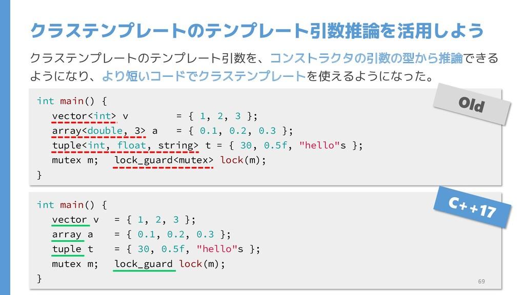 クラステンプレートのテンプレート引数を、コンストラクタの引数の型から推論できる ようになり、よ...