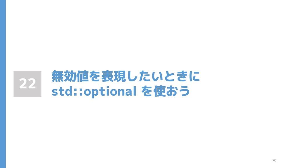 無効値を表現したいときに std::optional を使おう 22 70