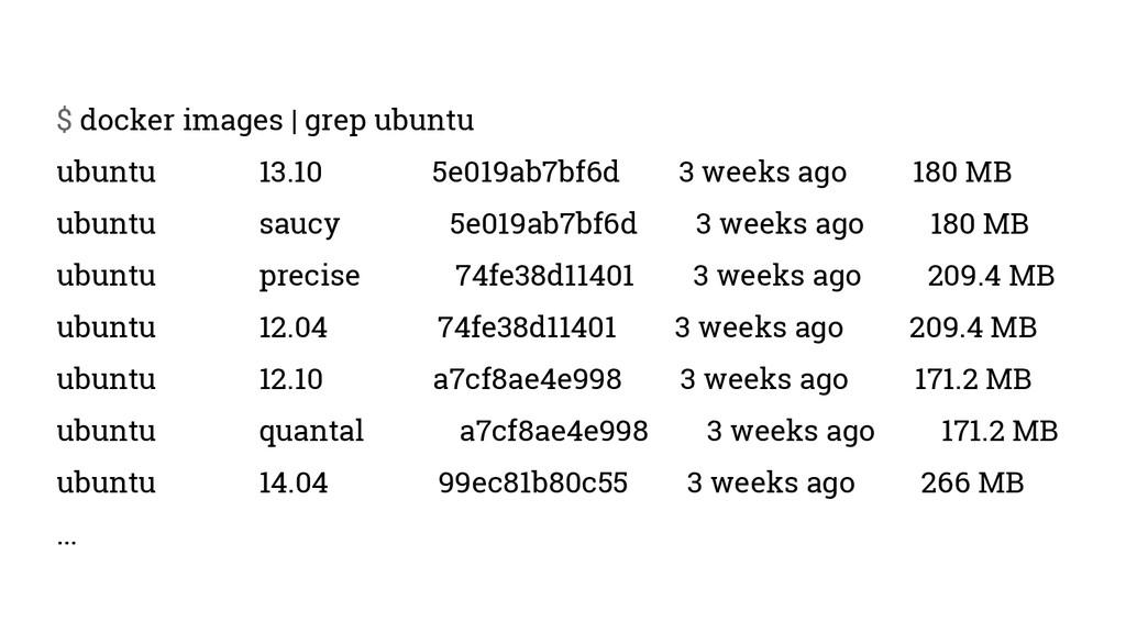 $ docker images | grep ubuntu ubuntu 13.10 5e01...