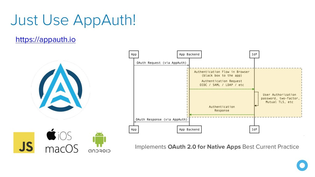 Just Use AppAuth! https://appauth.io Implements...