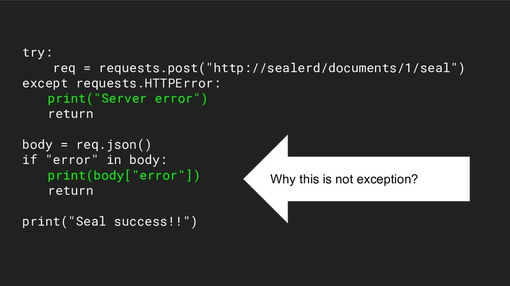 """try: req = requests.post(""""http://sealerd/docume..."""