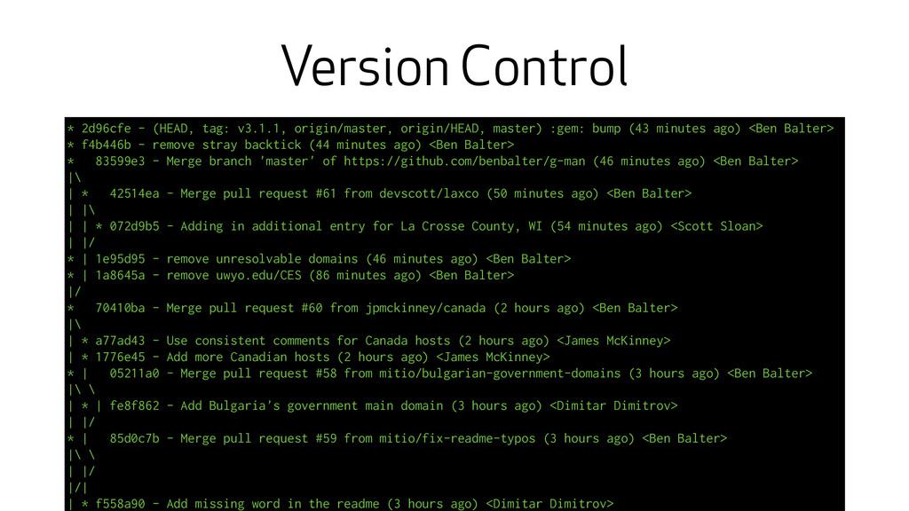 Version Control * 2d96cfe - (HEAD, tag: v3.1.1,...