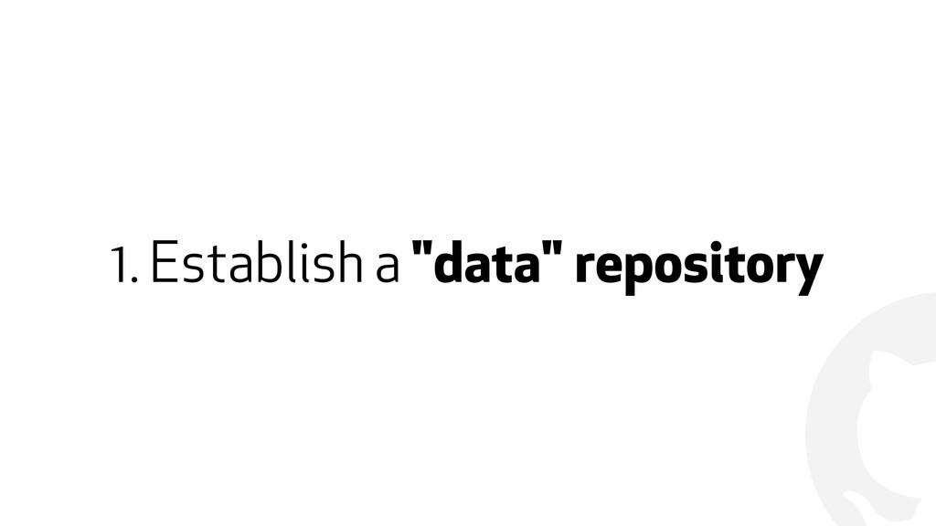 "! 1. Establish a ""data"" repository"