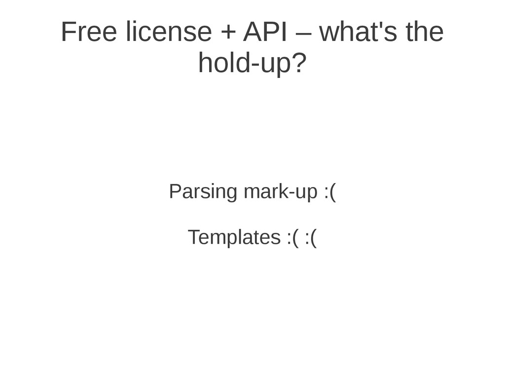 Parsing mark-up :( Templates :( :( Free license...