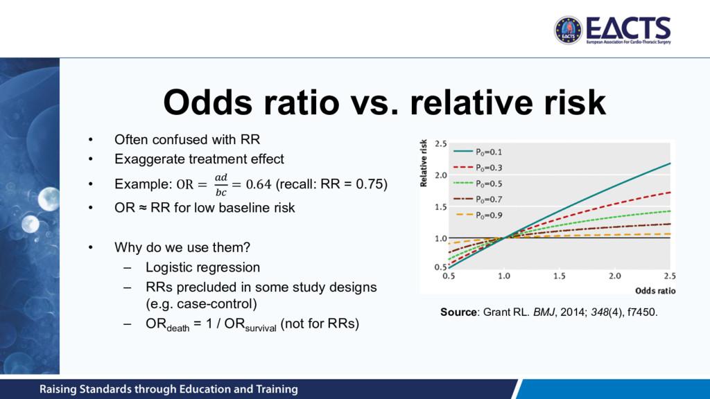 Odds ratio vs. relative risk • Often confused w...