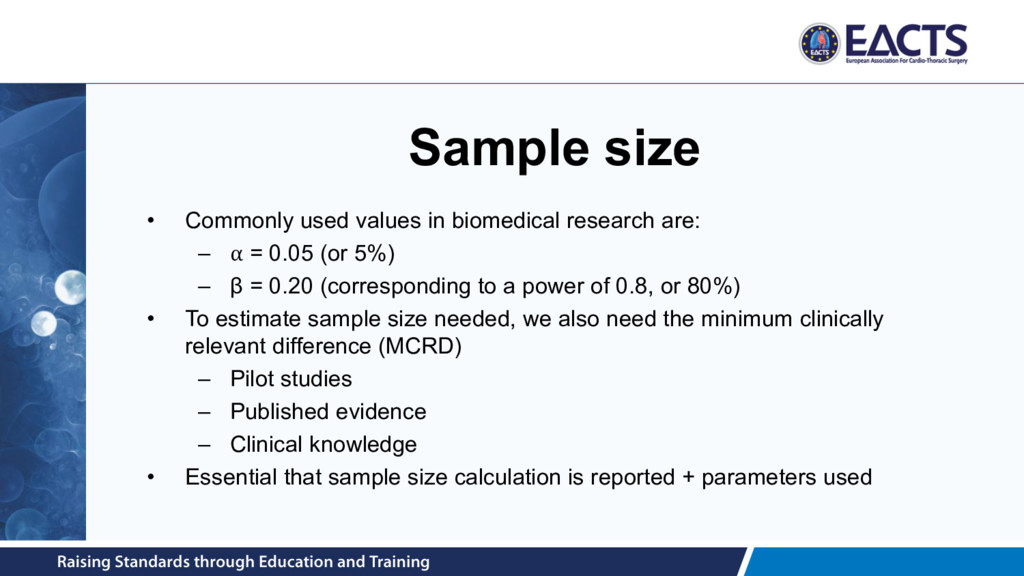 Sample size • Commonly used values in biomedica...