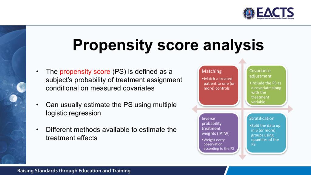 Propensity score analysis Matching •Match a tre...