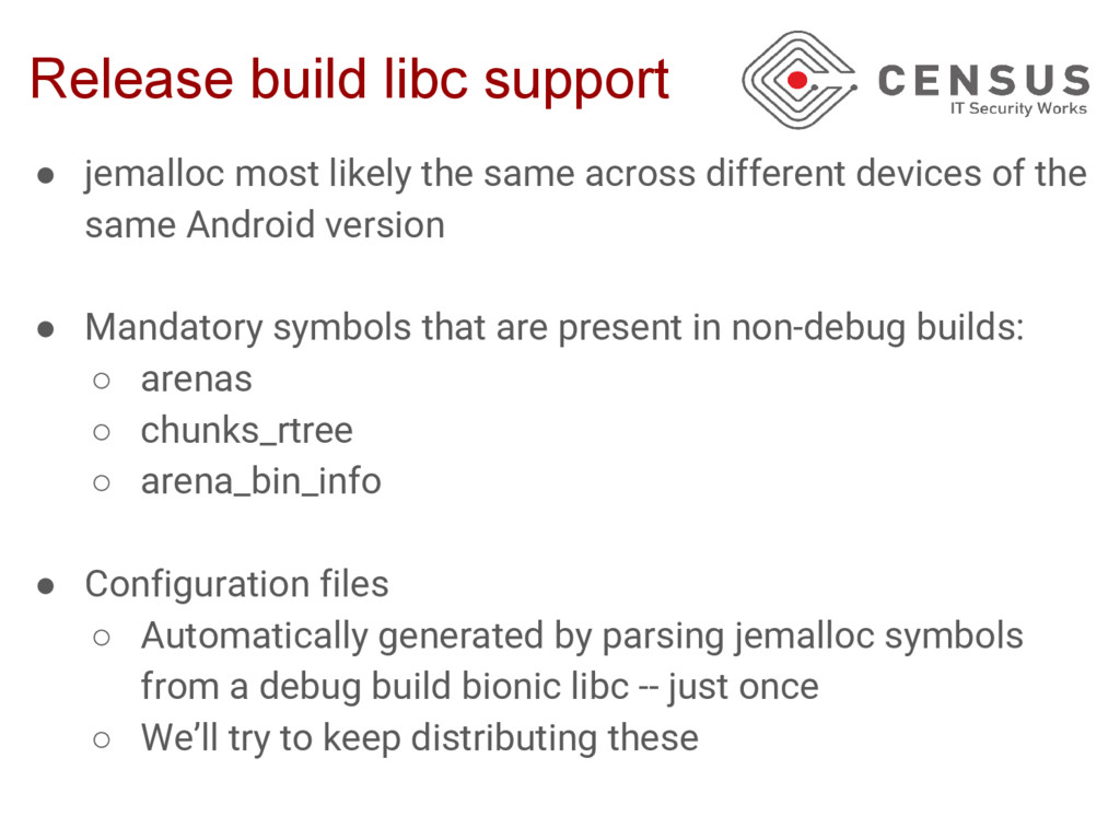 Release build libc support ● jemalloc most like...