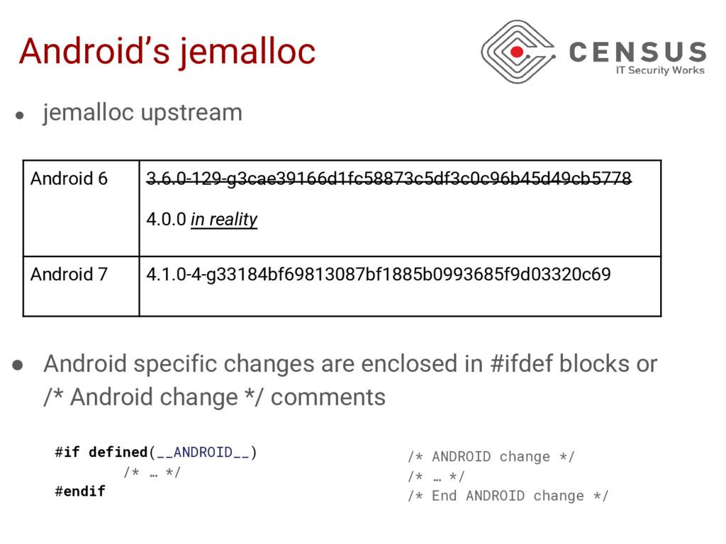 Android's jemalloc ● jemalloc upstream ● Androi...