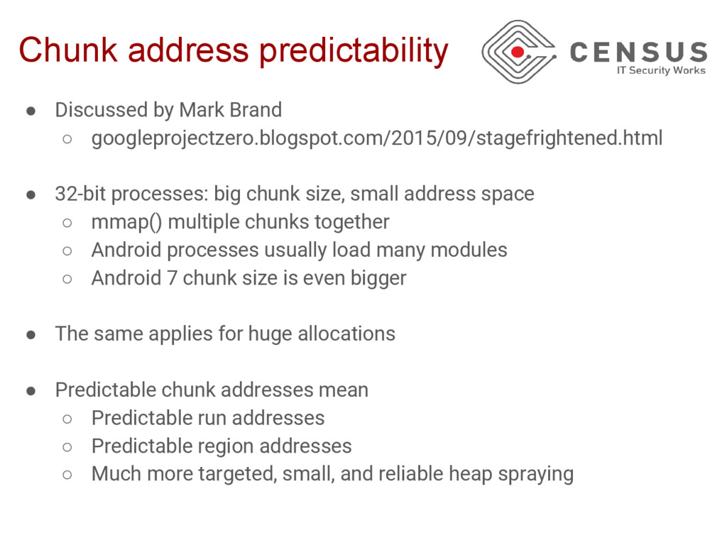 Chunk address predictability ● Discussed by Mar...